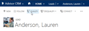 Advisor CRM Lead - Qualify Button
